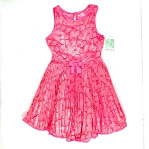 Bonnie Jean coral pink lacy dress, NEW
